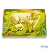 CHUNKY PUZZLE SHEEP - 6 pieces.